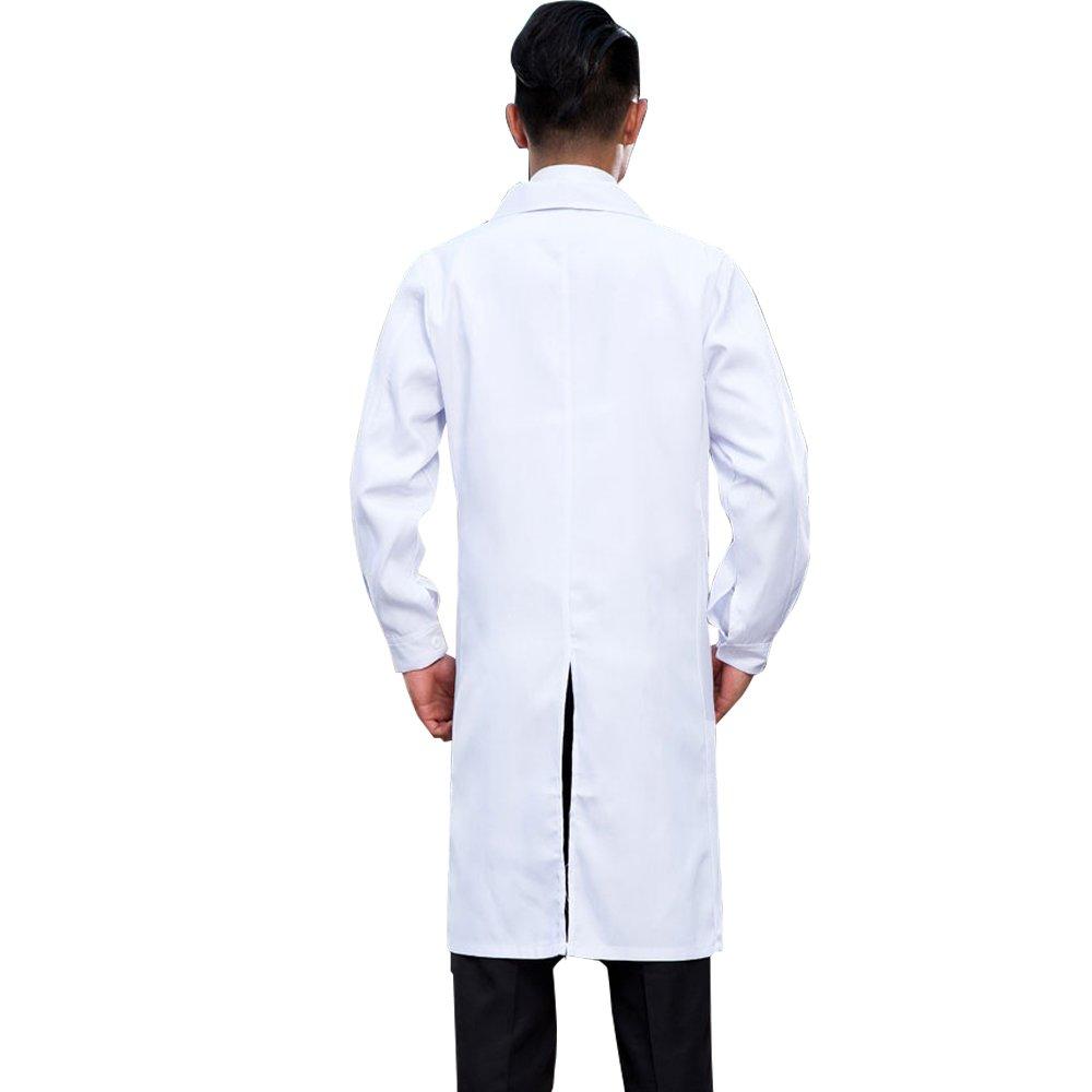 AONER Bata Médico Laboratorio Enfermera Sanitaria de Trabajo Blanca con Manga Larga para Hombre: Amazon.es: Ropa y accesorios