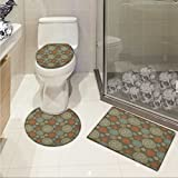 lacencn Oriental 3 Piece Shower Mat set Arabian Boho Circular Motifs with Flowers and Swirls Earth Tones Moroccan Image Customized Rug Set Multicolor