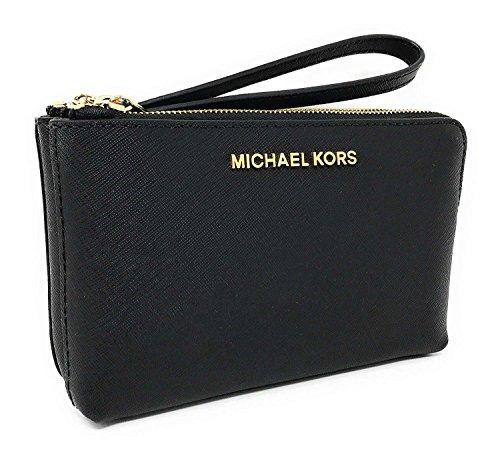 Michael Kors Jet Set Travel Large Double Gusset Top Zip Saffiano Leather Wristlet (Black)