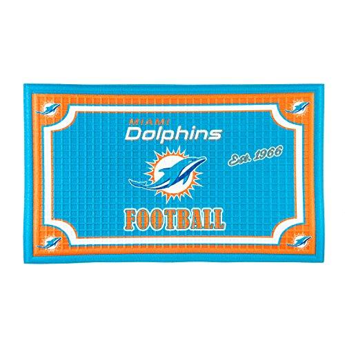 Dolphins Mat Miami - Team Sports America 41EM3816, Miami Dolphins Embossed Door Mat, Multicolor