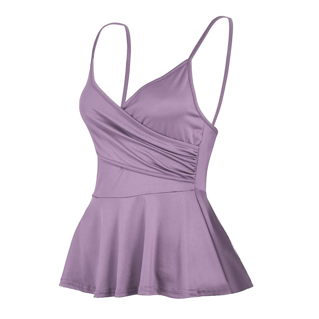 NUWFOR Summer Women's V Neck Solid colorSling Casual Vest Sexy Tank Tops (Purple,US M Bust:26.7-33.7'')