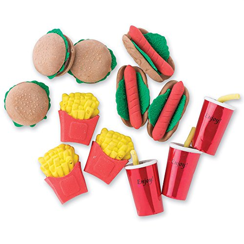 Realistic-looking Fast Food Erasers - 48 Per Pack