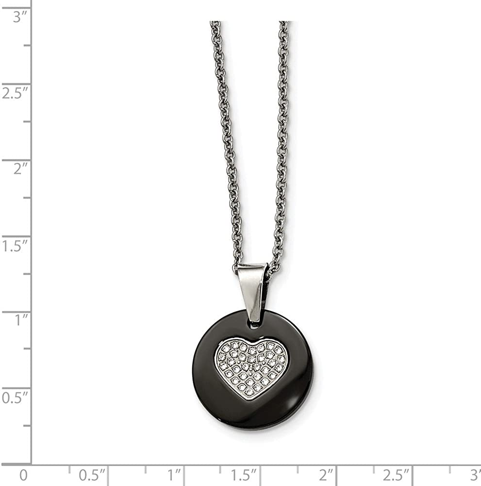 Solid Stainless Steel Black Ceramic CZ Cubic Zirconia Heart Pendant Necklace Charm Chain with Secure Lobster Lock Clasp 22