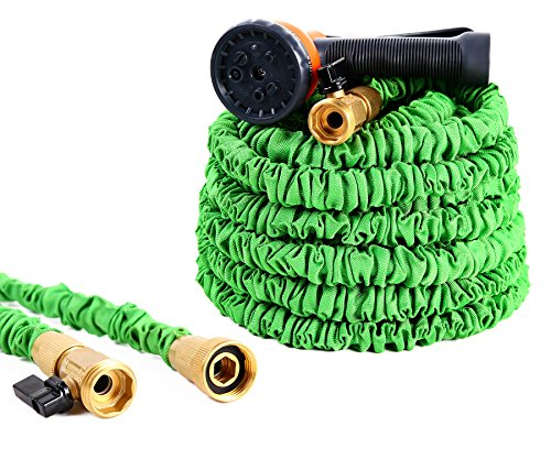 Ohuhu Expandable Garden Hose, ALL NEW 50 FT Expanding Water Hose, Lightweight Flexible Hose With 3/4 Solid Brass Fittings & 8 Function High Pressure Spray Nozzle by Ohuhu
