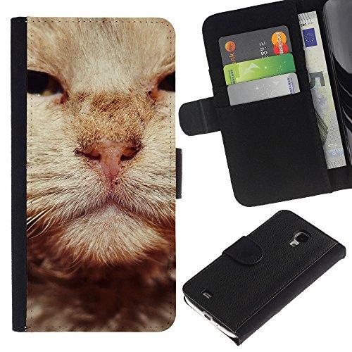 EuroCase - Samsung Galaxy S4 Mini i9190 MINI VERSION! - British wirehair cat orange whiskers - Cuero PU Delgado caso cubierta Shell Armor Funda Case Cover