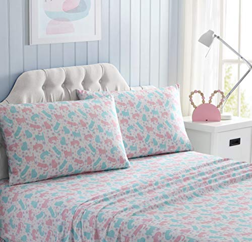 Kute Kids Super Soft Sheet Set - Kitty Time - Includes Pillowcase(s) Available in Twin & Full Size (Full)