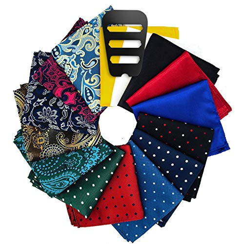 Pocket Squares for men 15 Pack set with Pocket Square Holder in Designer Gift Box Assorted colors Polka dots Paisley Plain by ekSel