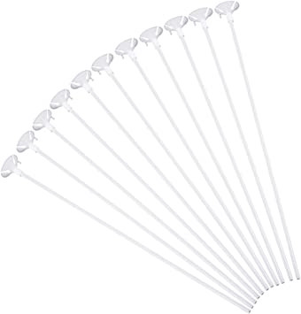 Pllieay 50 Pieces Plastic White Balloon Sticks with Cups for Party Valentine/'s