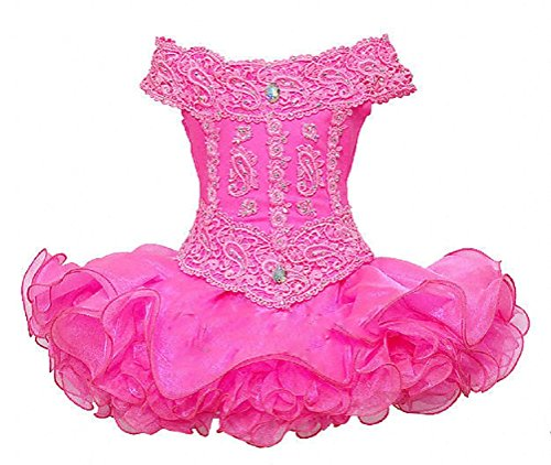 Baoji Little Girls' Mini Lace Ball Gowns Cupcake Pageant Dresses 3 US Pink