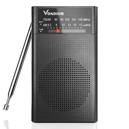 رادیو AM FM - بهترین استقبال و طولانی ترین ماندگاری. باتری AM FM Player قابل حمل با جیب قابل حمل توسط 2 باتری AA ، سوکت هدفون Mono ، توسط Vondior (سیاه)
