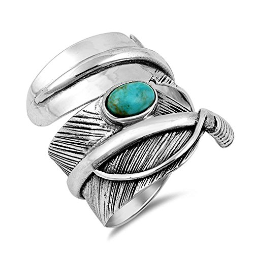 - Sterling Silver Oval Turquoise Wraparound Feather Ring Sizes 7-13