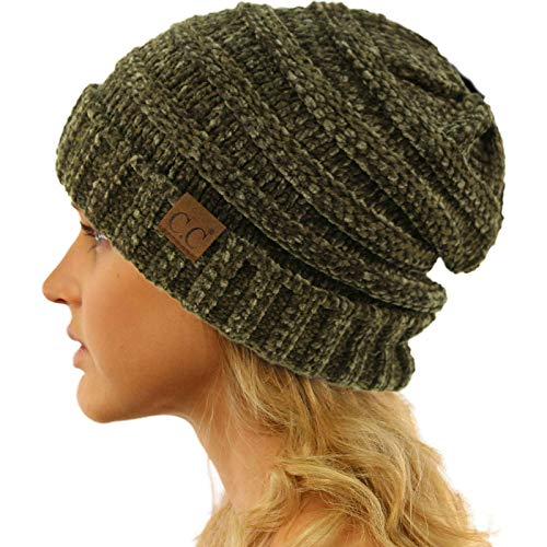 CC Winter Trendy Warm Oversized Chunky Baggy Stretchy Slouchy Skully Beanie Hat Chenille Olive