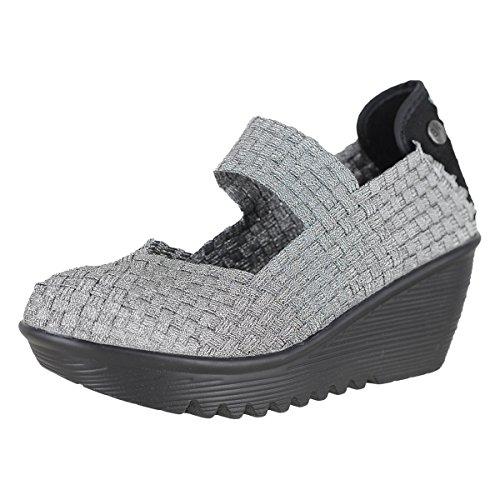 Bernie Mev Womens Lulia Casual Wedge Shoe Pewter Size 38 EU (7 M US Women)