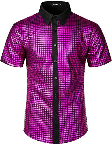 JOGAL Men's Dress Shirt Sequins Button Down Shirts 70s Disco Party Costume XX-Large A353 Rosered