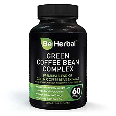 Be Herbal - Green Coffee Bean Extract - Advanced formula with Garcinia Cambogia, Rasberry Ketone and Green Tea Extract - 1300 MG - Natural Supplement for Healthy Weight Loss Support - 60 Capsules