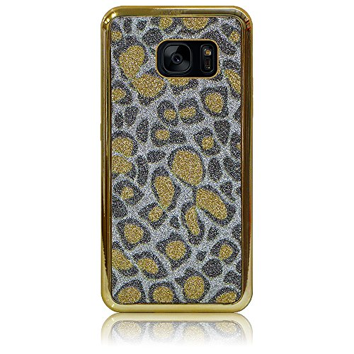 (Xtra-Funky Case Compatible with Samsung Galaxy S7, Bling Glitter Leopard Animal Print Soft Silicone Cover - Gold)