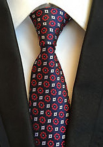 [Jacob AleX #47240 Costume Polka Dot Red Blue JACQUARD WOVEN Necktie] (Cabbage Head Costume)