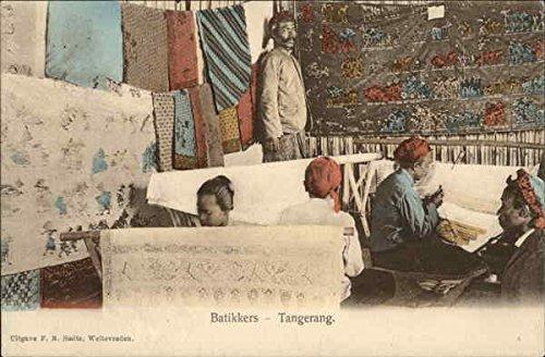 Old Indonesia Batik - Battikers Artisans making batiks Tangerang, Indonesia Original Vintage Postcard