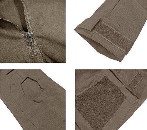 KEFITEVD Chemise de Combat Homme Chemise Camouflage Militaire Tactique T-Shirt Slim Fit Chemise à Manches Longues 4