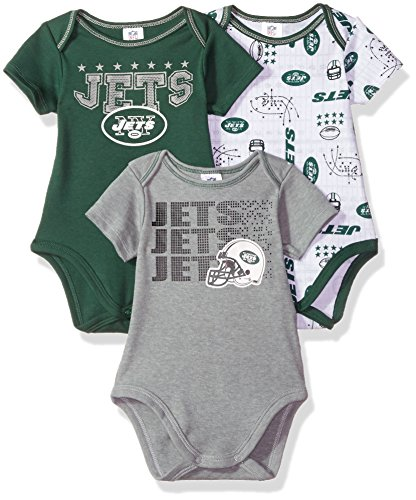 NFL New York Jets Boys Short Sleeve Bodysuit (3 Pack), 3-6 Months, Green