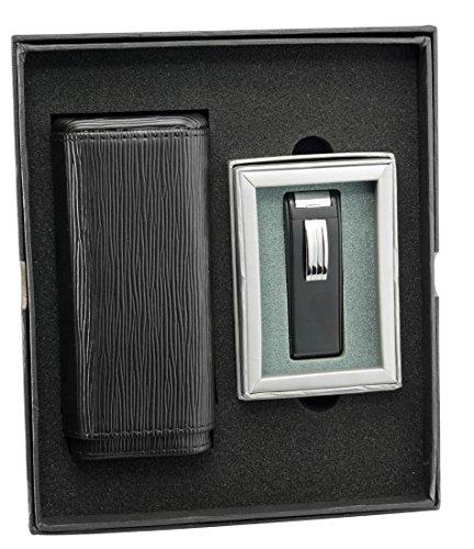 - Visol Woody Cigar Case and Dark Knight Black Matte Torch Flame Lighter Set