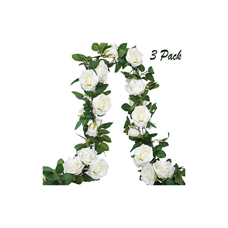silk flower arrangements ageomet 3pcs 19.5ft fake rose garland, artificial silk white flower vines, hanging floral garland, wedding flowers string party arch garden decor