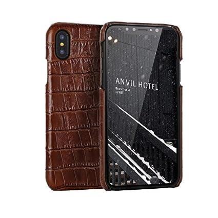 size 40 aee9c 74e34 Amazon.com: Genuine Leather Luxury Case for iPhone X/Xs, iPhone Xs ...