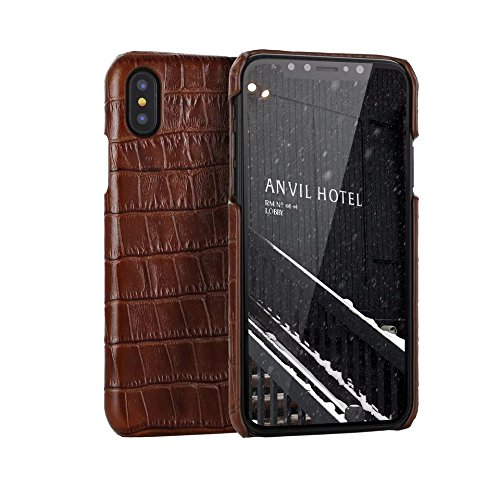 Genuine Leather Luxury Case for iPhone X/Xs, iPhone Xs Max, and iPhone XR, Hand-Made with Premium Calf Leather (Alligator/Crocodile Skin Texture) by Dooney Raffaele (Brown, iPhone ()