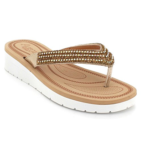 Womens Ladies Diamante Toe Post Casual Comfort Summer Lightweight Wedge Slingback Sandals Shoes Size Gold lwXzB