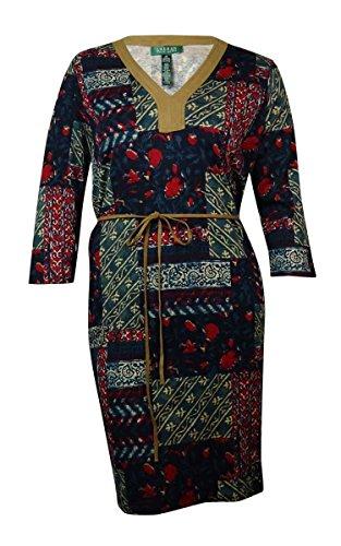 Women's Faux Suede Belted Knit Dress (3X, Multi) (Belted Knit Dress)