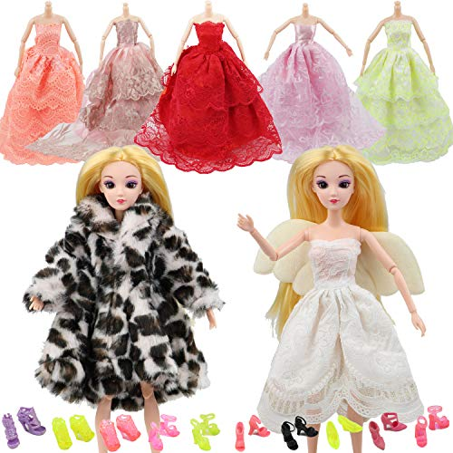 MIBBQ 15pcs Doll Clohtes and Shoes Set 5pcs Winter Coat Angel Dress Princess Party Gowns Dresses+10 Shoes Boots Fit for 11.5