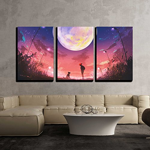 Illustration Young Woman with Dog at Beautiful Night with Huge Moon Above x3 Panels