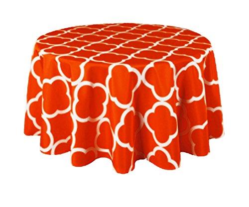 Texstyles Trellis Print Fabric Tablecloth 60 Round Indoor Outdoor (Orange) (Fabric Trellis)
