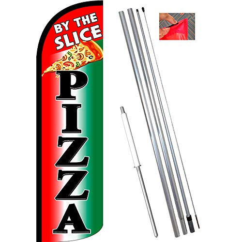 Pizza By The Slice (Tri-color/Black) Windless Feather Flag
