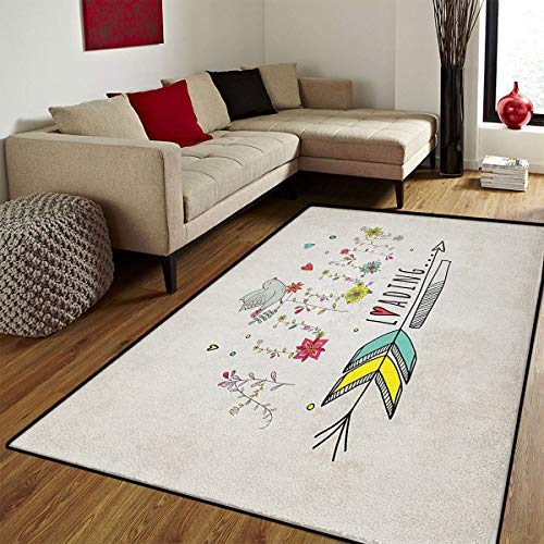 Quote,Floor Mat for Kids,Autumn is Loading Phrase with Flowers Arrow Floral Elements Vintage Style Art,Bath Mat for tub Bathroom Mat,Red Yellow Beige,4x5 ft