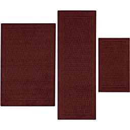 Stylish and Durable Dylan Nylon 3-Piece Accent Rug Set (Red Burgundy)