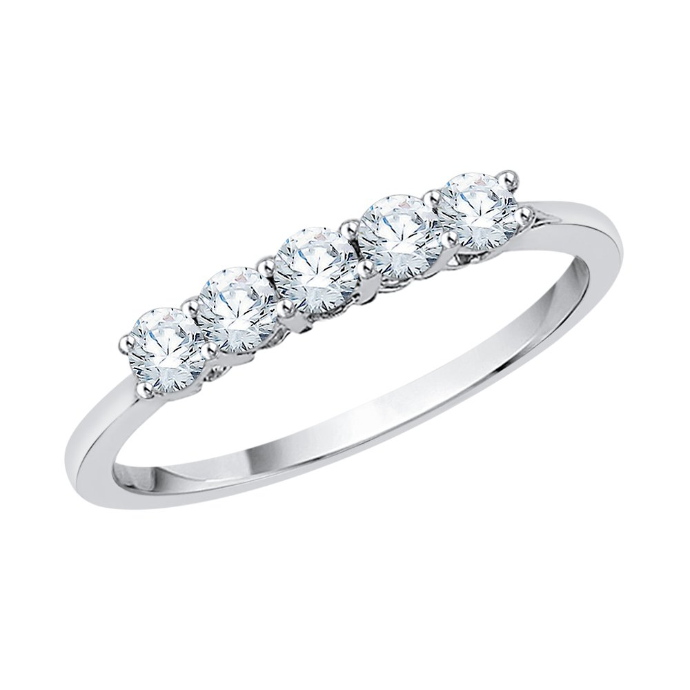 Five Stone Diamond Anniversary Ring in Sterling Silver (1/2 cttw) (GH Color, I2-I3 Clarity) (Size-5)
