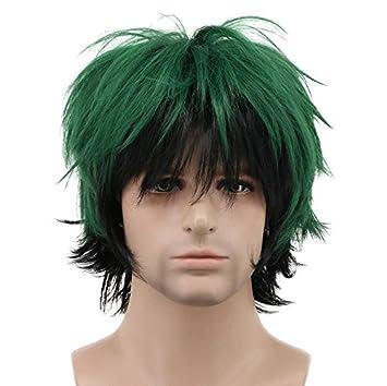 Amazon.com: karlery Hombres onda corta verde degradado negro ...