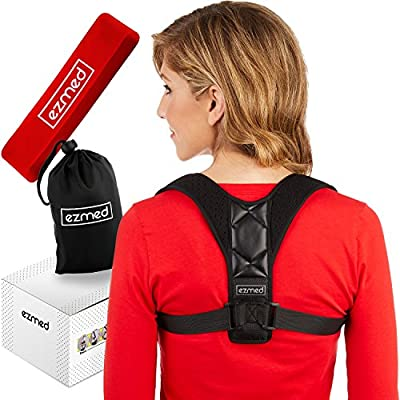 EZmed Ultimate Posture Corrector, Resistance Band & Carry Bag Set For Men & Women | Align Your Spine & Relieve Back Pain