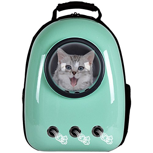 Giantex Astronaut Pet Cat Dog Puppy Carrier Travel Bag Space Capsule Backpack Breathable (Light Green)