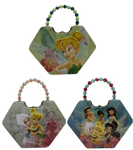 Disney Fairy Handbag (The Tin Box Company 519507-12 Disney Fairies Diamond Purse Tin- Assorted)