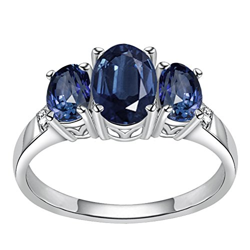 925 Sterling Silver Simulated Blue Sapphire & Diamond Ring for Women and Girls, Three Stone Ring, September Birthstone, Perfect for Mother Day, Birthday, Free Gift Box (3.20 Cttw, 8x6 MM Oval) - 8x6mm Oval Ring Setting