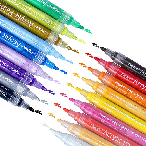 Vegkey Acrylic Paint Markers Pens Set,18 Colors of Acrylic Marker for Paper,Rock Painting, Mug Design, Ceramic Art, Glass, Metal, Wood, Fabric, Crafting, Leather,Best for Artists,Kids and Adults by Vegkey