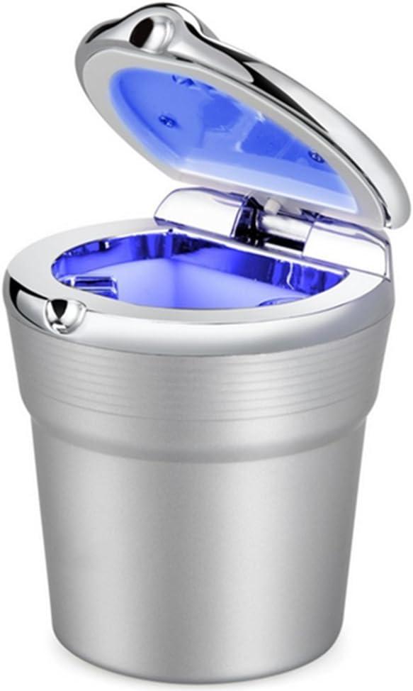 DaoRier Auto-Zigaretten-Aschenbecher Tragbare Auto Fahrzeug Asche Rauchfreien Stand Zylinder Cup Holder Zigarette Aschenbecher mit Blau LED-Licht Grau