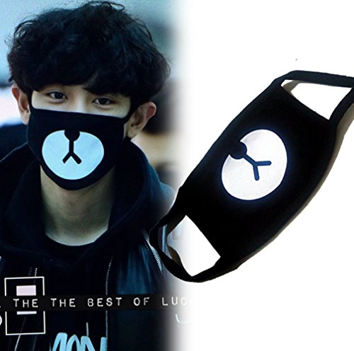 heartybay Motorcycle Face Masks Unisex Exo All Members Black Mask Exo Mask Kpop Mask 16 Types (Bear-EXO) -