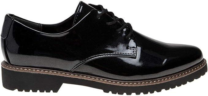 New Womens Marco Tozzi Black 23712 Pu Shoes Flats Lace Up