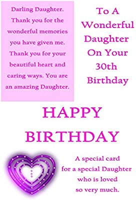 Daughter 30th Birthday Card With Removable Laminate