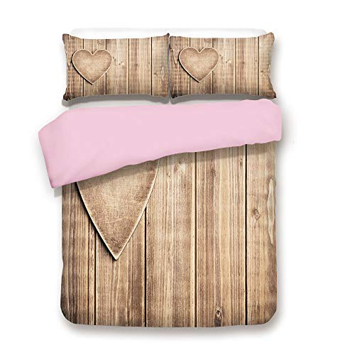 (Pink Duvet Cover Set,FULL Size,Rustic Heart over Wooden Planks Background Lovers Corner Romantic Celebration Print Decorative,Decorative 3 Piece Bedding Set with 2 Pillow Sham,Best Gift For Girls Wome)