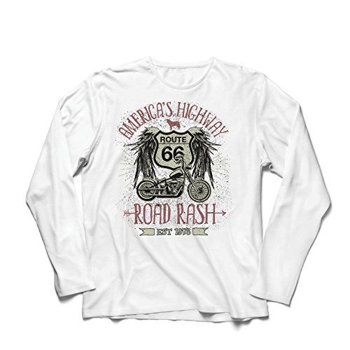 lepni.me Camiseta de Manga Larga para Hombre Ruta 66, autopista de los Estados Unidos - Road Rash, Ropa de Motorista: Amazon.es: Ropa y accesorios