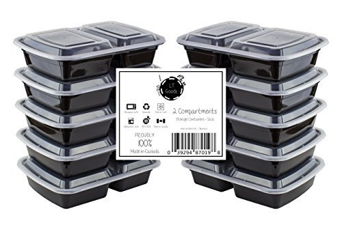LT Goods 2 Compartment Stackable Meal Prep Food Storage Containers - 32oz, 10 pack - 100% Made in Canada